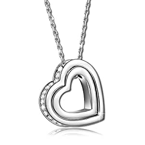 "Pauline & Morgen 925 Sterling Silver ""LOVE YOU FOREVER"" Engraved Crystal Heart Pendant Women Necklace, Birthday Valentines Mothers Day Christmas Xmas Anniversary Gifts For Wife Mum Mother Daughter"