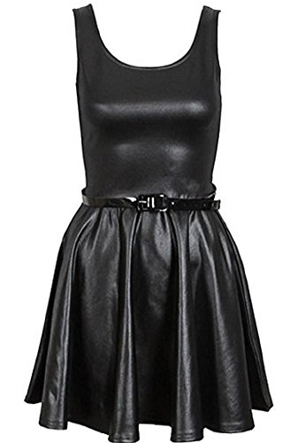OG Luxe Damen Skelett Drucken Knochen Hand Bodycon Kleid Bodysuit V-Ausschnitt Halloween Party Sammlung Plus Größe 36-54 (L/XL (EU 44-46), Wetlook Skater Dress) - Sammlung Bodysuit