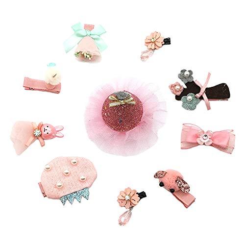 Westeng Ensemble de 10pcs Pince à cheveux Bébé Fille Jolie Mignon Petite Clips Accessoires de cheveux Épingle à cheveux princesse pour enfants (Style 1)