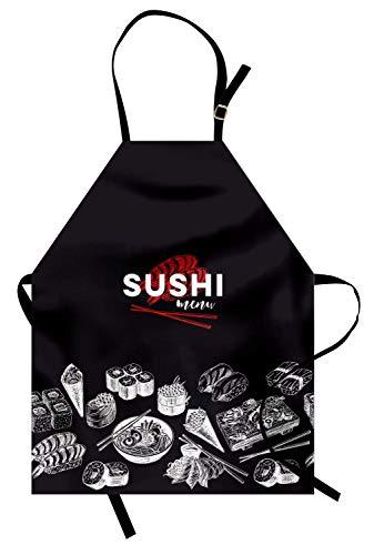 (Japan-Schürze, Vintage asiatische Essensskizzen für japanische Sushi-Bars Restaurants, Unisex-Küchenschürze mit verstellbarem Hals zum Kochen Backen im Gartenbau, Holzkohle-Grauer weißer Vermilion)
