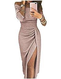 iMixCity Abito da Donna Senza Spalline Abito da Cocktail Lucente Abito da Max 3/4 Maniche