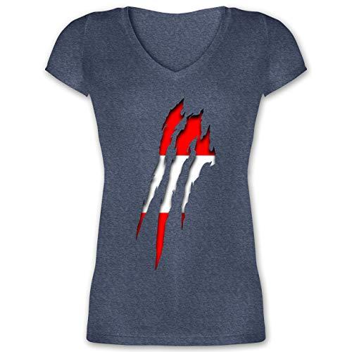 Länder - Österreich Krallenspuren - S - Dunkelblau meliert - XO1525 - Damen T-Shirt mit V-Ausschnitt