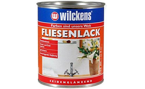 Wilckens Fliesenlack weiß seidenglänzend 750 ml Renovierungsanstrich für Wand- und Deckenfliesen, z. B. in Küchen und Bädern im Innenbereich