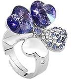 (Liquidation) Le Premium® Clover Anneau Collier SWAROVSKI® ELEMENTS Cristal Violet Foncé