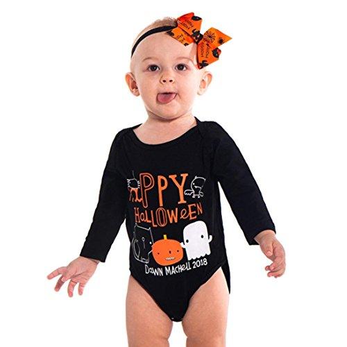 üm Baby Tops, Kürbis Kostüm für Baby Halloween Karneval Party Kleid mit Kürbis Flügel Stirnband (Schwarz, 70cm) (Super Cute Baby Halloween-kostüme)
