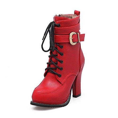 VogueZone009 Donna Tacco Alto Bassa Altezza Puro Cerniera Stivali con Fibbia Rosso