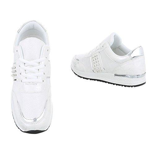 Ital-Design Sneakers Low Damenschuhe Sneakers Low Sneakers Schnürsenkel Freizeitschuhe Weiß Silber P-18
