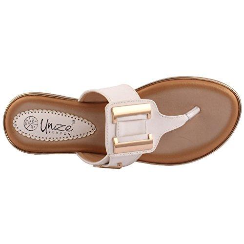 Unze Neue Damen Damen 'Geoxy' Open Zehe Tanga Casual Karneval Flache Sommer Pantoffeln Sandalen Schuhgröße 3-8 - 318-759-4 Weiß