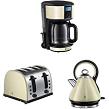 Russell Hobbs Legacy Coffee Maker, 1.25 L with 4 Slice Toaster and Kettle, 3000 W - Cream