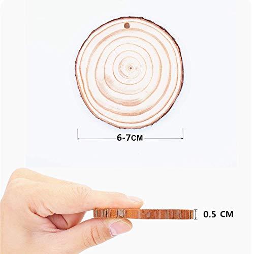 419Oo6tRbwL - Rodajas de Madera Círculos 6-7 cm 30 pcs TICIOSH Discos de Madera Rebanada 10m Cuerda de Cáñamo Maderas Naturales Perforado Con Corteza de Árbol Para Manualidades