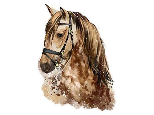GRAZDesign Wandtattoo Pferd braun Aquarelle Farben Pferdekopf Aufkleber - Reiten Horst - Deko fürs Kinderzimmer Mädchen Prinzessin Pferde-Fans / 41x30cm (HxB)