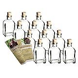 gouveo Set di Bottiglie di Vetro da Farmacia, 100 ml, quadrate, con Tappo, Bottiglie vuote da riempire, incl. Libretto di Ricette da 28 Pagine Spitzkorken