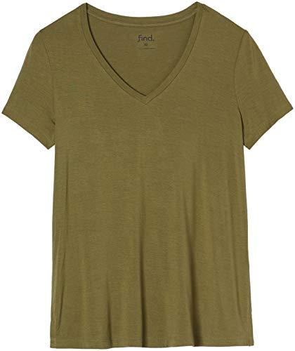 find. 18132 t shirt damen, Grün (Green Khaki), 36 (Herstellergröße: Small)