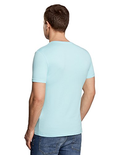 oodji Ultra Herren Tagless T-Shirt Basic mit V-Ausschnitt Türkis (7300N)