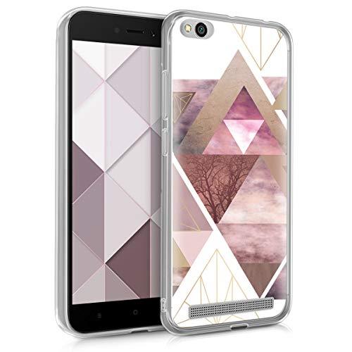 kwmobile Funda para Xiaomi Redmi 5A - Carcasa de [TPU] para móvil y diseño de triángulos en [Rosa Claro/Oro Rosa/Blanco]
