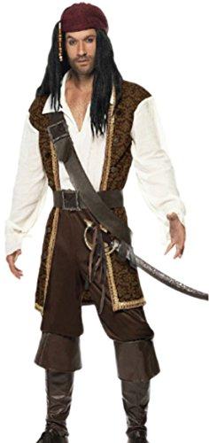 Halloweenia - Herren Karnevalskomplettkostüm Hochsee Pirat , M, (Karibik Pirat Stiefel Braun)
