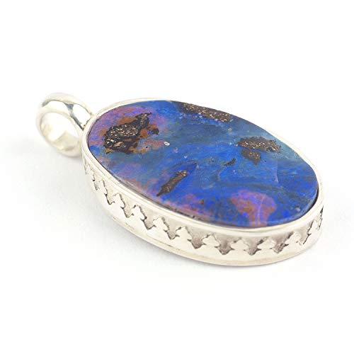 Boulder Opal Mineral Anhänger ovalförmig mit Silberfassung und Größe 19x13x4 mm (0.75x0.51x0.16