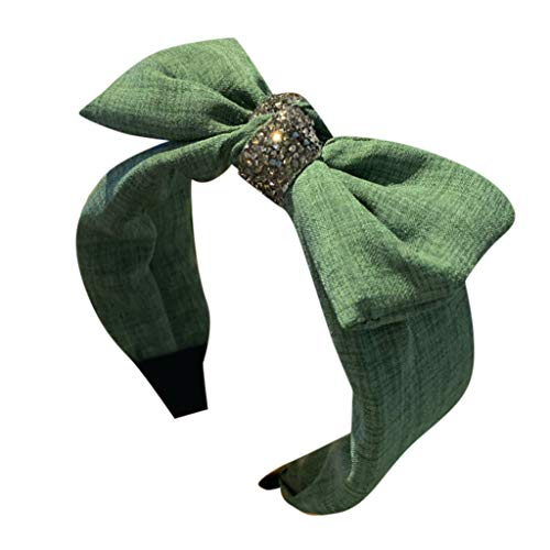 QIMANZI Damen Bogen Stirnband Kreativ Breitkrempig Kopfbedeckung Zubehör Stirnband Haarband Reifen aarschmuck Haarreif mit Schleife-Vintage-Wunderschön Stirnband(Grün)