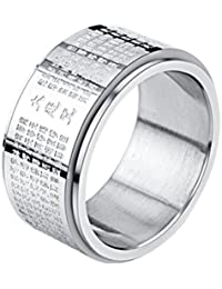 HIJONES Unisex Adult Stainless Steel Rainbow LGBT Pride Spinner Ring 8MM FPZnq
