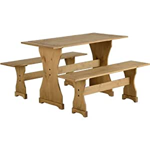 MEXICAN DISTRESSED WAXED PINE DINETTE SET - TABLE AND TWO BENCHES