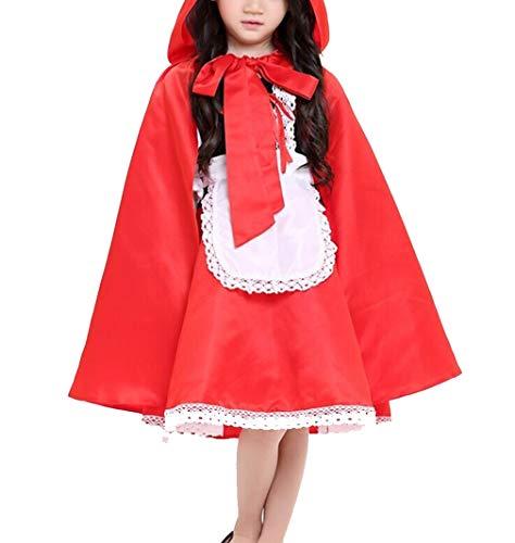 ädchen Halloween-Outfits Rot Schöne Rolle Spielen Kostüme Kids Party Fancy Kleid mit Mantel L ()