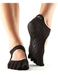 ToeSox Full Toe Bellarina Grip Socks, Color- Black, Color- black, Size- medium by Toesox