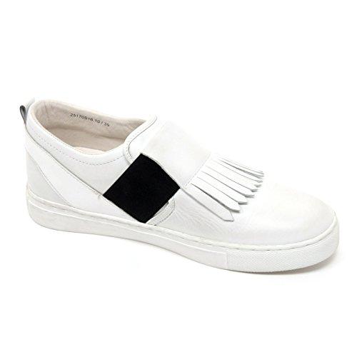 B6598 sneaker donna CRIME LONDON scarpa bianco frangia slip on shoe woman Bianco