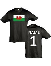 Kids T-Shirt Wales Ländershirt mit Wunschnamen und Nummer