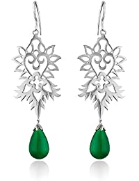 Ahilya Jewels Imperial Filigree Collection .925 Sterling Silver and Pearl Drop Earrings