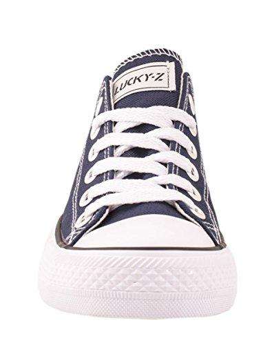 Elara Unisex Sneaker | Bequeme Sportschuhe für Damen und Herren | Low top Turnschuh Textil Schuhe 36-46 DkBlue