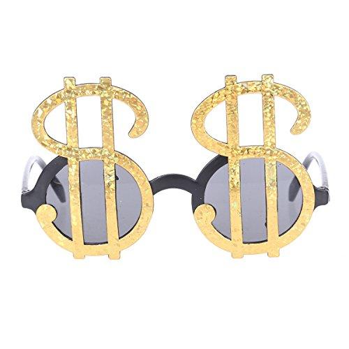 OULII Lustige Party Brillen Neuheit Dollar Symbol Masquerade Gläser Party gefallen (Gold)
