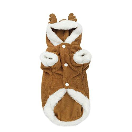 Halloween Dogge Kostüme (Weihnachten Rentier Hundekostüm mit Kapuze Fleece Wintermantel Halloween Bekleidung für Hunde Kaffee)
