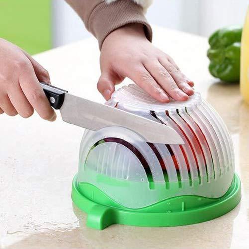 LeRan Hachoir à salade, bol de coupe-légumes frais et sain Multi-fonction 60 secondes saladier professionnel conteneur pour ustensiles de cuisine