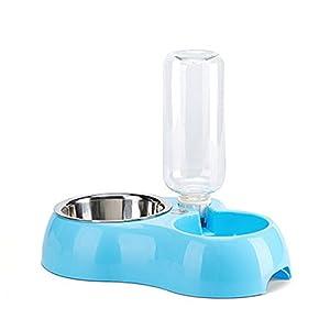 Yommie 2 en 1 Distributeur de Nourriture Croquette et d'eau Bol pour Chat et Chien Distributeur avec Gamelle et Bouteille Automatique d'Eau