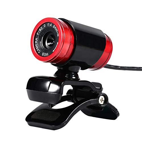 LoveOlvido HD Webcam 12.0M Pixel CMOS USB Webkamera Digitale Videokamera mit Mikrofon 360-Grad-Drehung Clip-on-PC Laptop Notebook - Schwarz & Rot -