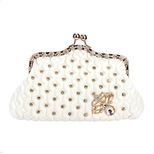Bonjanvye Kiss Lock Crystal Butterfly Purses and Handbags for Women Mini Bag White (Lock Handbag Kiss)