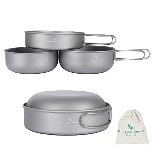 iBasingo 3-piece Set Titanium Bowl Set Outdoor Camping Pan Cookware Pot with Folding-handle Picnic Dishes