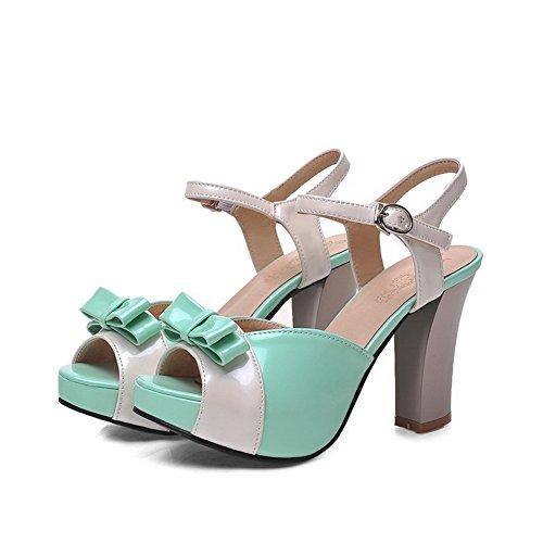 VogueZone009 Damen Gemischte Farbe Fischkopf Schuhe Pu Leder Schnalle Sandalen Mit Hohem Absatz Grün