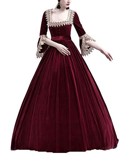 Liangzhu Damen Prinzessin Mittelalter Langarm Große Glockenhülse Kleid Mit Hohem Taille,Gothic Viktorianischen Königin Kostüm Mit Schnürung Und Spitze Burgunderrot M
