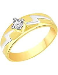 VK Jewels Single Stone Gold And Rhodium Plated Alloy CZ American Diamond Ring For Men [VKFR2085G]