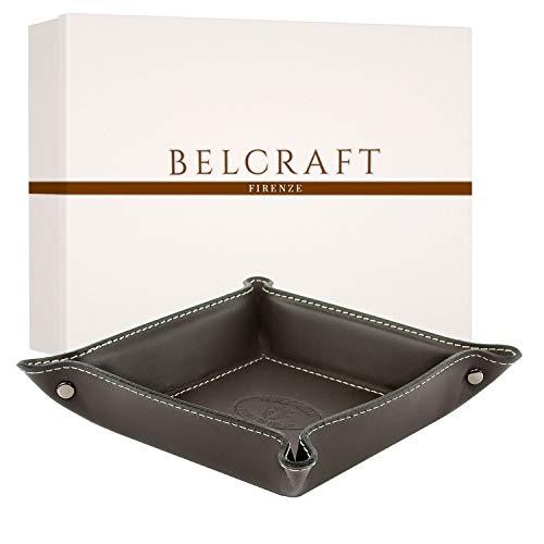 Belcraft Orvieto Vaciabolsillos de Piel Italiana, Hecho a Mano, Incluye Caja, Marron Oscuro (19x19 cm)