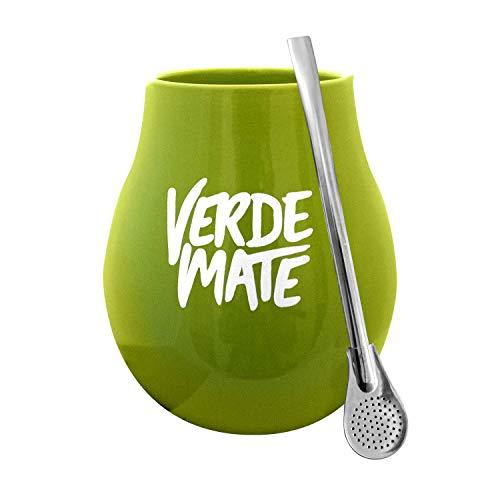 Tee-becher-set (Mate Becher Keramik Grün Verde + Bombilla Edelstahl Set Mate Tee)