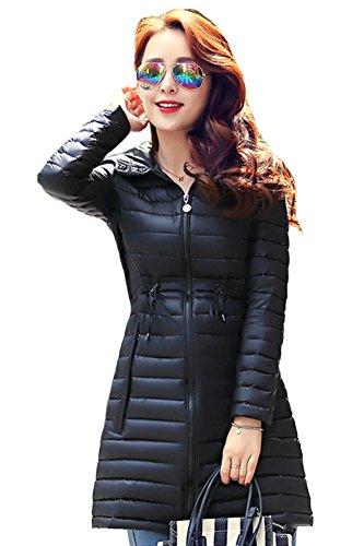 queenshiny Damen Lange Dünne Daunenjacke Mantel Jacke mit Kapuze Winter Schwarz