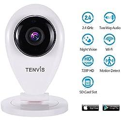Tenvis Babyphone avec caméra sans fil Vision de nuit Caméra IP 2directions pour iPhone iPad Smart Phone et tablettes Android