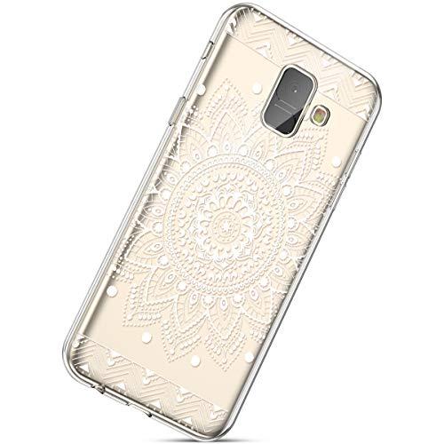 Kompatibel mit Handyhülle Galaxy A8 2018 Durchsichtig Silikon Schutzhülle Kratzfeste Kristall Transparent Silikonhülle Crystal Clear TPU Bumper Case TPU Cover Weich Hülle,Weiße Blume