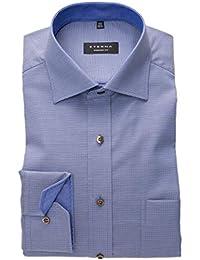 d5df94858e2719 eterna Herren Hemd Comfort Fit blau Natté strukturiert Langarm bügelfrei  Natté strukturiert mit Brusttasche