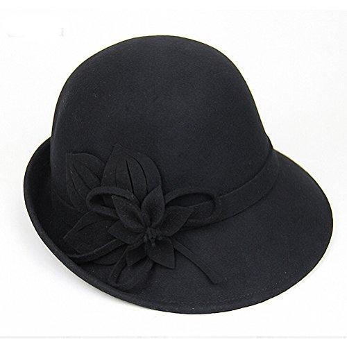 Maitose® Laine Femmes Feutre Fleurs Eglise Bowler Hats Noir