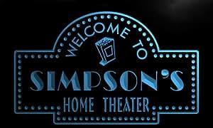 ph1126-b Simpson's Home Theater Popcorn Bar Beer Neon Light Sign