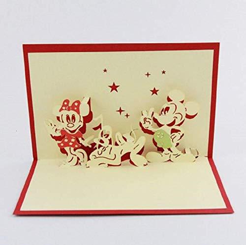 dgemachte 3D Pop-up Geburtstag Karte Origami Kirigami Papier Handwerk Disney Mickey Maus Minnie Pluto Cartoon Kind Kind glücklich Gruß Liebe Familie ()