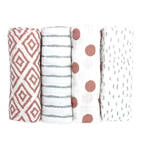 Emma & Noah Mullwindeln/Spucktücher, extra weich und saugfähig 4er Pack, 100% Baumwolle, 80x80 cm groß, doppelt gewebt, verschiedene Sets, Stoffwindeln, Moltontücher, Baby Tuch, Mulltücher (Altrosa)